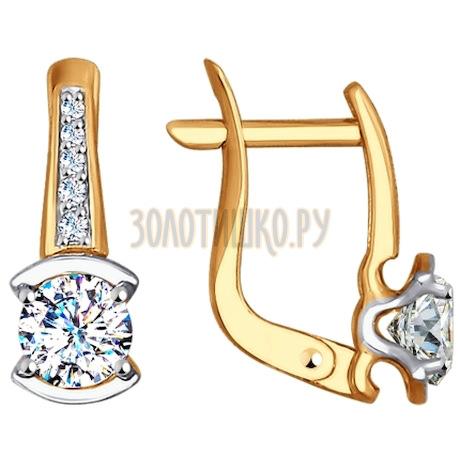 Золотые серьги с фианитами 027580