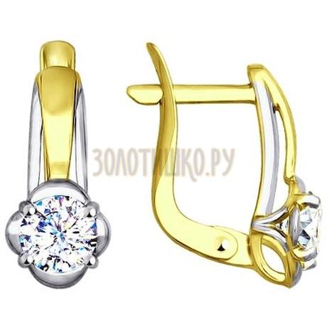 Золотые серьги с фианитами 027586-2
