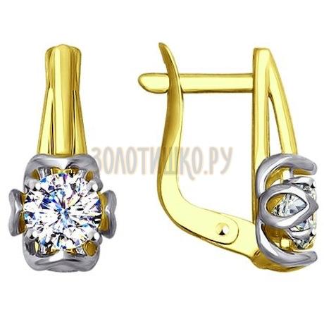Золотые серьги с фианитами 027588-2