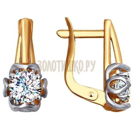 Золотые серьги с фианитами 027588