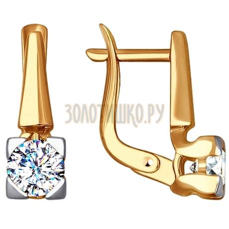 Золотые серьги с фианитами 027600