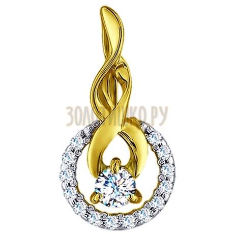 Золотая подвеска с фианитами 034045-2
