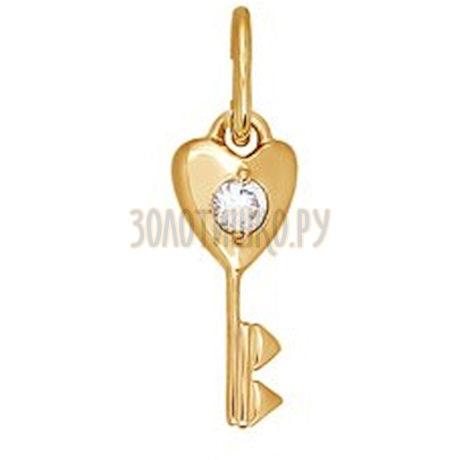 Золотая подвеска с фианитом 034115