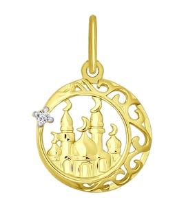 Золотая подвеска с фианитом 034442-2