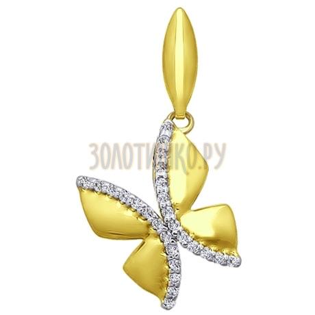 Золотая подвеска с фианитами 034785-2