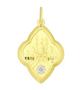 Золотая подвеска с фианитом 034843-2