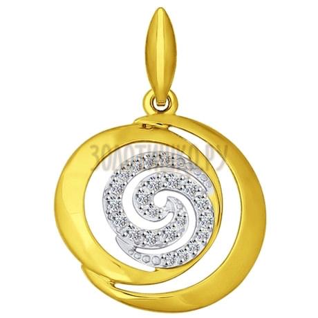 Золотая подвеска с фианитами 034853-2