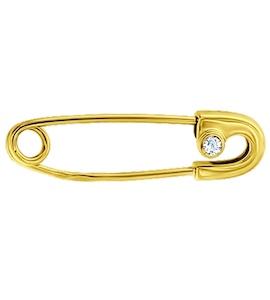 Золотая брошь с фианитом 040084-2