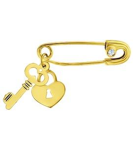 Золотая брошь с фианитом 040096-2