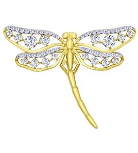 Золотая брошь с фианитами 040168-2