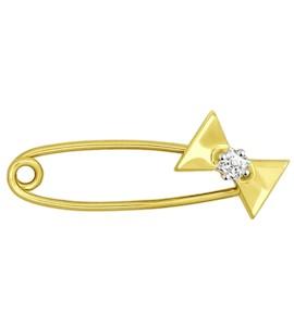 Золотая брошь с фианитом 040171-2