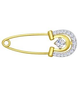 Золотая брошь с фианитами 040203-2