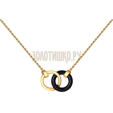 Золотое колье с керамикой 070277