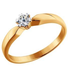 Золотое кольцо с бриллиантом 1011235