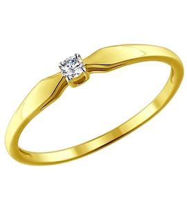 Золотое кольцо с бриллиантом 1011584