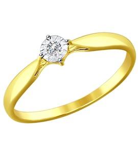 Золотое кольцо с бриллиантом 1011587