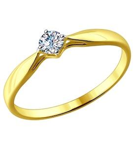 Золотое кольцо с бриллиантом 1011588