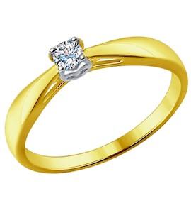 Золотое кольцо с бриллиантом 1011591