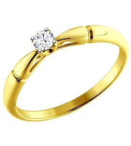 Золотое кольцо с бриллиантом 1011597