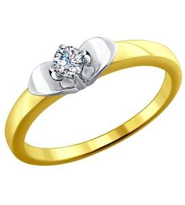 Золотое кольцо с бриллиантом 1011604