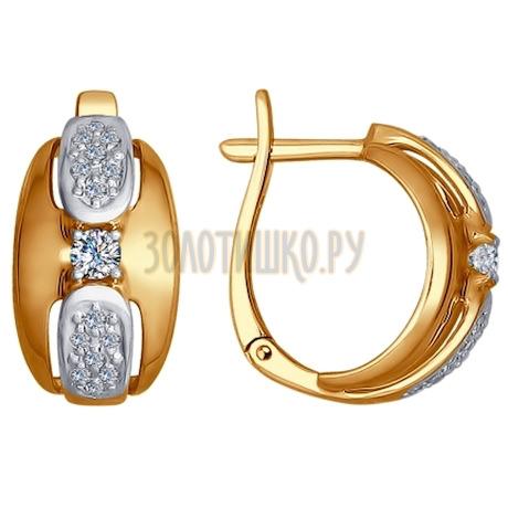 Золотые серьги с бриллиантами 1021158