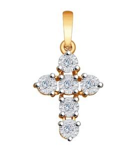 "Золотая подвеска ""крест"" с бриллиантами 1030594"
