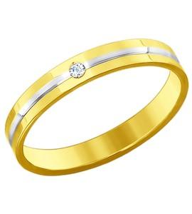 Золотое кольцо с бриллиантом 1110184
