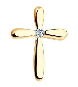 """Золотая подвеска """"крест"""" с бриллиантом 1120020"""