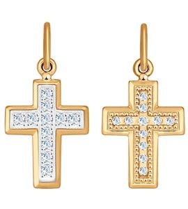 """Золотая подвеска """"крест"""" с фианитами 120193"""