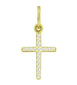 """Золотая подвеска """"крест"""" 120309-2"""