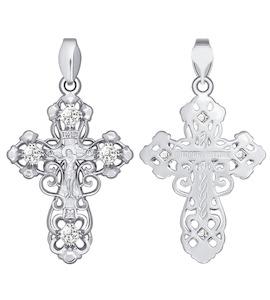 Православный золотой крестик с фианитами 121285