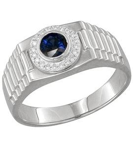 Золотое кольцо с бриллиантами и сапфиром 2010803