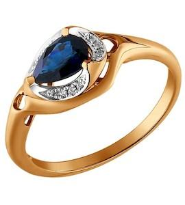 Золотое кольцо с бриллиантами и сапфиром 2010879