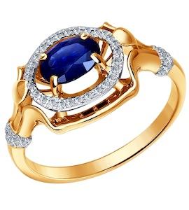 Золотое кольцо с бриллиантами и сапфиром 2010891