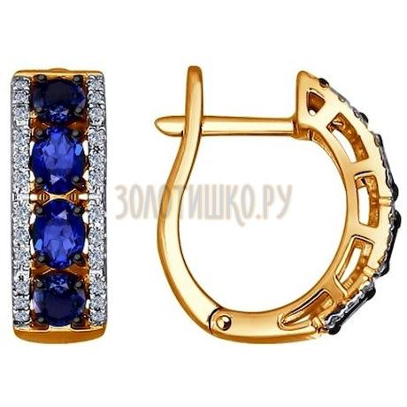 Золотые серьги с бриллиантами и сапфирами 2020869