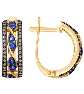 Золотые серьги с бриллиантами и сапфирами 2020873