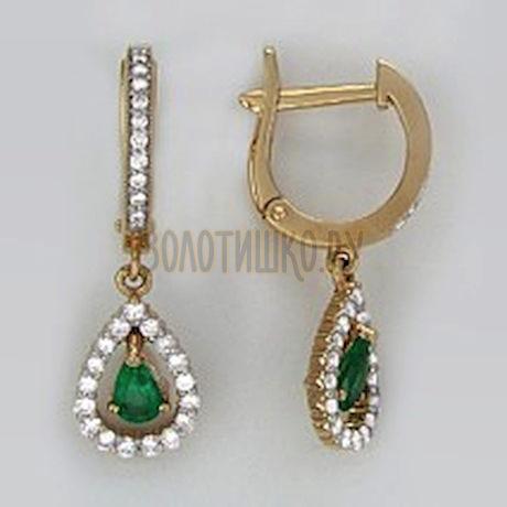 Золотые серьги с бриллиантами и изумрудами 3020110