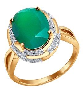 Золотое кольцо с бриллиантами и агатом 6013038