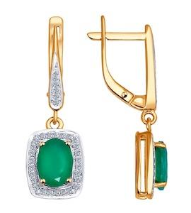 Золотые серьги с бриллиантами и агатами 6023002