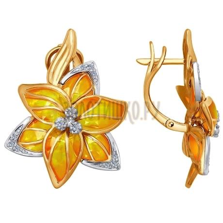 Золотые серьги с бриллиантами и эмалью 6029017