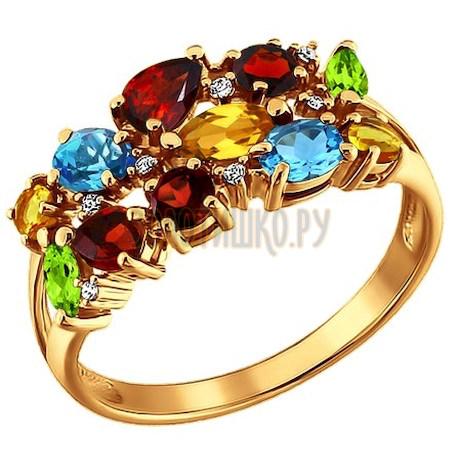 Золотое кольцо с фианитами, топазами, гранатами, цитринами и хризолитами 710220