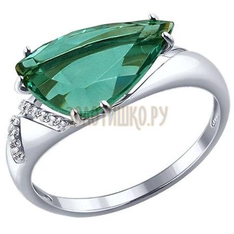 Золотое кольцо с фианитами и кварцем 714117-3