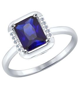 Золотое кольцо с фианитами и корундом 714318-3