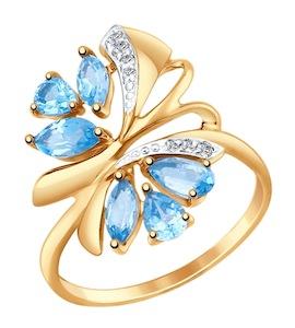 Золотое кольцо с фианитами и топазами 714736