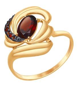 Золотое кольцо с фианитами, фианитами и гранатом 714740