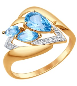 Золотое кольцо с фианитами и топазами 714776
