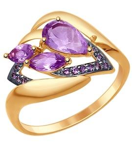 Золотое кольцо с фианитами и аметистами 714778