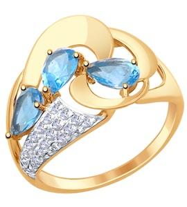 Золотое кольцо с фианитами и топазами 714804