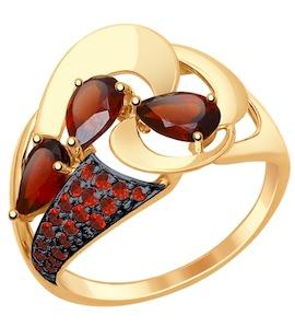 Золотое кольцо с фианитами и гранатами 714806