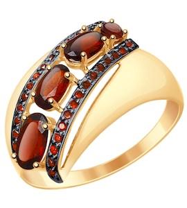 Золотое кольцо с фианитами и гранатами 714824